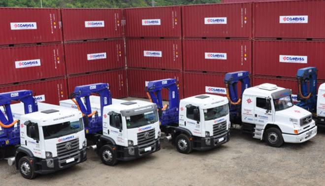 Como é feito o deslocamento dos containers?